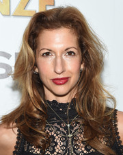 Alysia Reiner wore her hair in flippy waves when she attended the screening of 'The Bronze.'