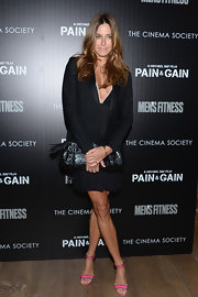 Kelly Bensimon chose a LBD with a plunging neckline for her chic look at the screening of 'Pain and Gain.'