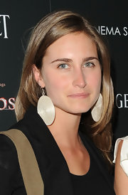 Lauren Bush added large round earring to her otherwise casual look.