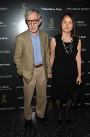 Soon-Yi Previn jazzed up her black cocktail dress with a layered necklace for added interest.