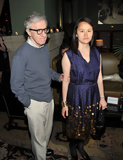 Soon-Yi Previn wore a lovely navy cocktail dress with a paillette skirt to a screening of 'Midnight in Paris.'