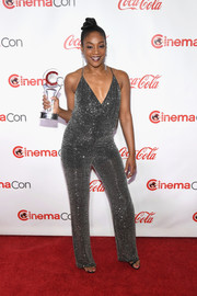 Tiffany Haddish got all sparkled up in a beaded halter jumpsuit for the 2018 CinemaCon Big Screen Achievement Awards.