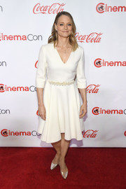 Jodie Foster attended the 2018 CinemaCon Big Screen Achievement Awards wearing a simple fit-and-flare LWD.