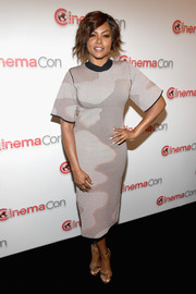 Taraji P. Henson kept it simple in a camo sheath dress by Solace London at CinemaCon 2018.