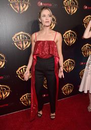 Annabelle Wallis looked party-ready in a layered, sequined cami by Prabal Gurung at CinemaCon 2018.