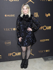 Meghan Trainor opted for a pair of black lace-up platform boots to finish off her look.