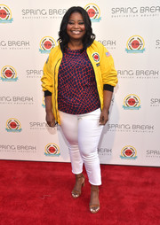 Tan ankle-strap sandals rounded out Octavia Spencer's casual attire.