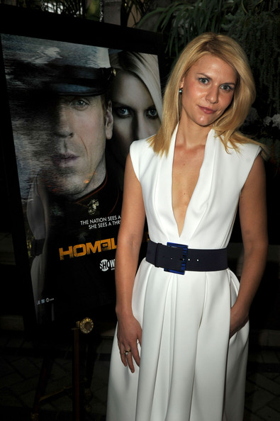 Claire Danes Oversized Belt [red carpet,white,beauty,lady,fashion,girl,fashion model,dress,flooring,formal wear,long hair,claire danes,beverly hills,four seasons hotel,los angeles,california,afi awards]