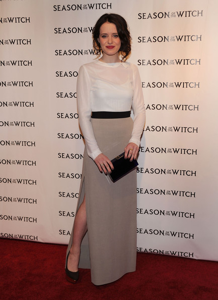 Claire Foy Hard Case Clutch [season of the witch,clothing,shoulder,dress,fashion,waist,carpet,red carpet,joint,leg,formal wear,claire foy,new york city,amc lincoln square theater,relativity media,red carpet,premiere]