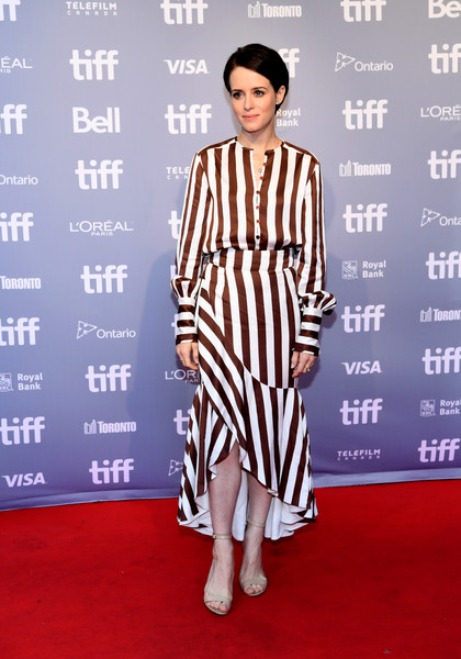 Claire Foy Print Blouse [first man press conference,red carpet,fashion model,clothing,carpet,fashion,flooring,dress,premiere,fashion design,footwear,first man,claire foy,toronto,canada,tiff bell lightbox,toronto international film festival,press conference]