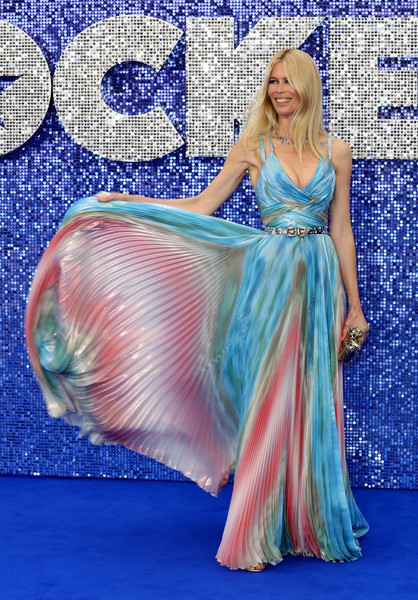 Claudia Schiffer Print Dress [clothing,dress,blue,shoulder,gown,fashion,formal wear,joint,prom,a-line,red carpet arrivals,claudia schiffer,rocketman,uk,england,london,odeon luxe leicester square,premiere,premiere]