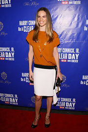Hilary Swank wore a tri-tone drop-waist frock for the Broadway opening of 'On a Clear Day You Can See Forever.'