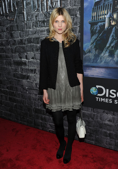 Clemence Poesy Cocktail Dress [clemence poesy,clothing,tights,carpet,premiere,fashion,outerwear,footwear,flooring,red carpet,leg,harry potter: the exhibition,grand opening,grand opening,new york city,discovery times square exposition center]