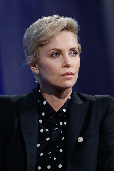 Charlize Theron sported a short side-parted cut at the Clinton Global Initiative meeting.