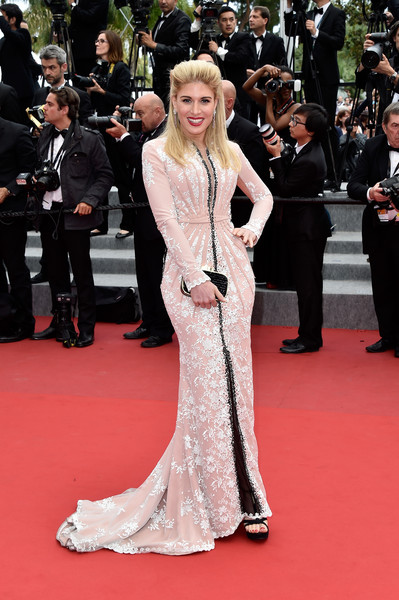 Hofit Golan covered up in glam style with this embroidered blush gown by Christophe Guillarmé for the Cannes closing ceremony.