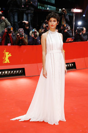 Audrey Tautou looked downright elegant at the BIFF closing ceremony in a white Prada halter gown with delicate crystal detailing.