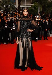 Sonam Kapoor was a stunner at the Cannes Film Festival closing ceremony is an embroidered sheer-panel evening dress.