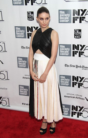 Rooney Mara paired her frock with black satin platforms by Brian Atwood.
