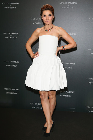 Clotilde Courau Strapless Dress [dress,clothing,cocktail dress,fashion model,shoulder,strapless dress,beauty,fashion,waist,a-line,clotilde courau,swarovski,cannes,france,viktor rolf,party,party,cannes film festival]
