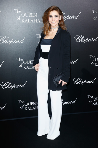 Clotilde Courau Blazer [chopard presents the garden of kalahari,clothing,pantsuit,suit,formal wear,outerwear,premiere,black-and-white,style,tuxedo,clotilde courau,kalahari movie presentation at theatre du chatelet,the garden,paris,france]