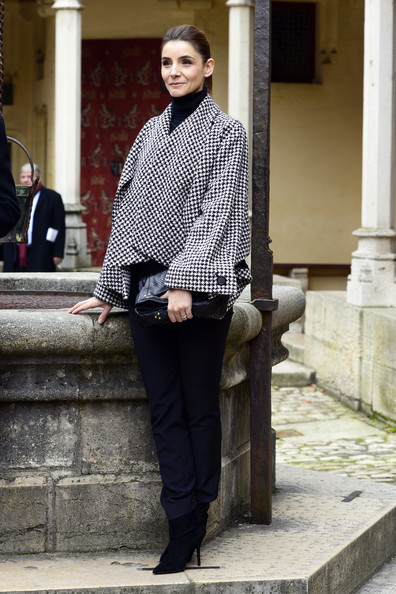 Clotilde Courau Swing Jacket [photograph,clothing,street fashion,fashion,snapshot,black-and-white,standing,dress shirt,footwear,outerwear,clotilde courau,hospices de beaune,beaune,france,hospices de beaune wine,auction,wine auction celebration]