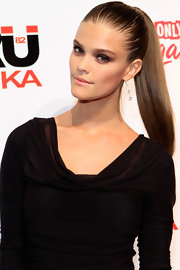 Nina Agdal attended a 'Sports Illustrated' event in Las Vegas wearing her hair in a tight super-sleek ponytail.