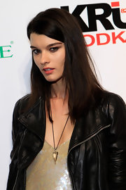 Crystal Renn attended a 'Sports Illustrated' event in Las Vegas wearing her hair straight and sleek.