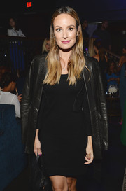 Catt Sadler layered a leather jacket over her LBD for an edgy finish during the Club Tacori event.