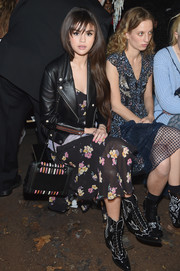 Selena Gomez accessorized with a color-block quilted bag by Coach during the brand's Fall 2018 show.