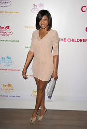 Taraji P. Henson stepped out in style in nude Forever Borsa Hobo & Python-Embossed Suede Slingbacks.