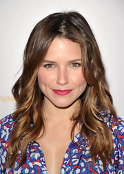 Sophia Bush paired her barely there makeup with matte berry lipstick.