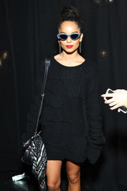 Zoe Kravitz looked super cool wearing these retro sunglasses at the Coach fashion show.