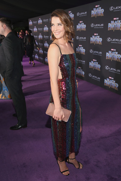 Cobie Smulders Strappy Sandals [black panther,clothing,red carpet,carpet,premiere,fashion,dress,flooring,event,footwear,leg,cobie smulders,california,hollywood,dolby theatre,marvel studios,los angeles world premiere]