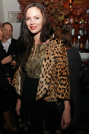 Georgina dons a cropped leopard print fur coat with this darling ensemble.