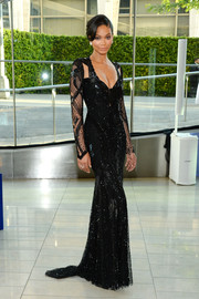 Chanel Iman was styled to glamorous perfection in a beaded black gown by Monique Lhuillier during the CFDA Fashion Awards.
