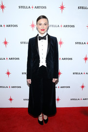 Keira Knightley attended the 'Colette' cast party sporting a wide-leg velvet tuxedo by Chanel.