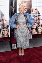 Helen Mirren polished off her monochromatic look with a pair of baby-blue pumps by Chloe Gosselin.
