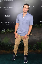 Vinny Guadagnino chose a light chambray polo for his more casual look at the premiere of 'After Earth.'