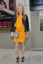 Mamie Gummer attended the opening night of 'The Columnist' wearing strappy chocolate brown heeled sandals.