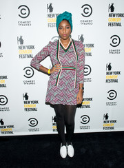 Jessica Williams attended the New York Comedy Festival kickoff party wearing a weave-print cardigan and a matching mini dress.