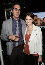 Anna Kendrick was tough-chic in a perforated white moto jacket during the 'Review' premiere party.
