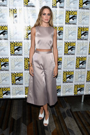 White peep-toe pumps completed Ruta Gedmintas' ensemble.