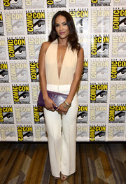 Lesley-Ann Brandt finished off her outfit with crisp white slacks by Jaeger.