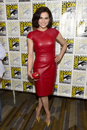 Lana Parrilla was all about edgy sophistication in a red leather dress by Gomez-Gracia while attending Comic-Con International 2016.