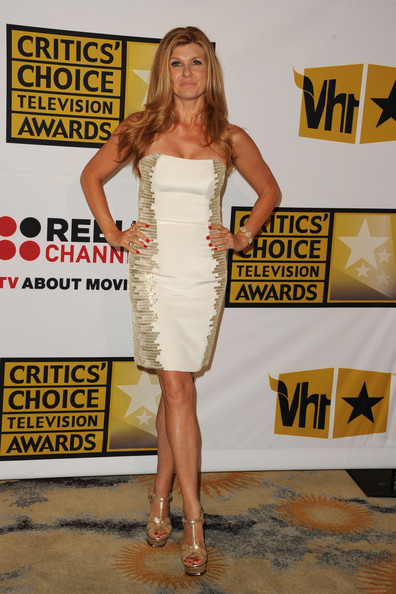 Connie Britton Strapless Dress [clothing,dress,shoulder,cocktail dress,premiere,fashion,yellow,joint,leg,fashion model,arrivals,connie britton,beverly hills hotel,california,critics choice television awards]