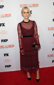 Sarah Paulson looked prim and sophisticated in a Philosophy di Lorenzo Serafini sheer, embroidered dress, in red with black velvet trim, at the 'People v. O.J. Simpson' For Your Consideration event.