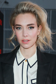 Vanessa Kirby rocked a messy teased hairstyle at the FYC event for 'The Crown.'