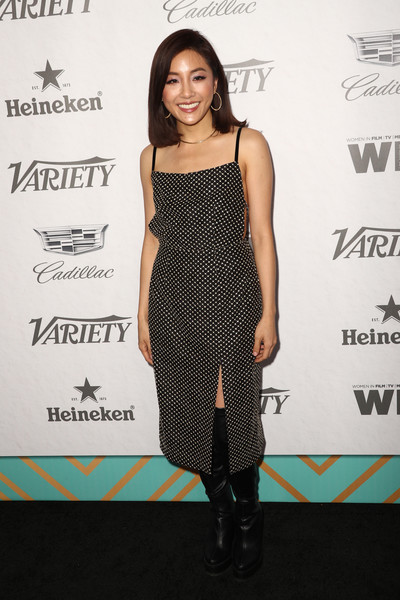 Constance Wu Over the Knee Boots