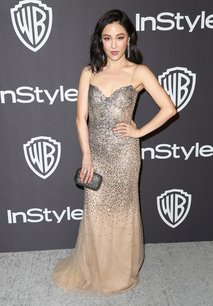 Constance Wu Beaded Clutch [dress,clothing,shoulder,gown,strapless dress,carpet,fashion model,red carpet,joint,fashion,constance wu,beverly hills,california,the beverly hilton hotel,instyle,golden globes,warner bros.,arrivals,party]