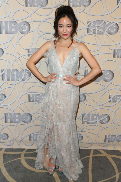 Constance Wu Lace Dress [fashion model,gown,beauty,dress,flooring,lady,hairstyle,cocktail dress,girl,model,constance wu,official golden globe awards,beverly hills,california,circa 55 restaurant,hbo,arrivals]